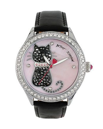 Betsey Johnson PRETTY KITTY BLACK CAT WATCH