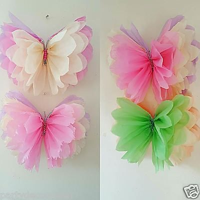 """20"""" 14"""" hanging girls birthday Party room decorations Tissue paper butterflys in Home, Furniture & DIY, Celebrations & Occasions, Party Supplies 