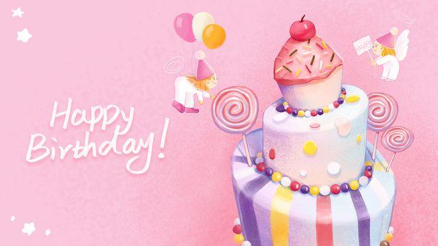 Happy Birthday Pink Cute And Warm Little Angel Birthday Cake