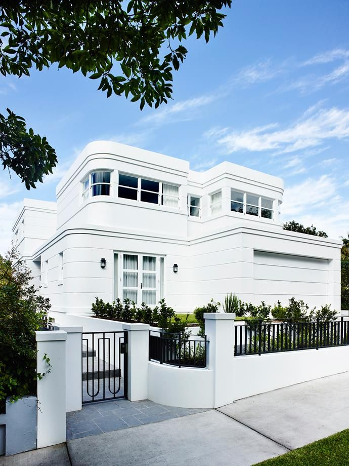 The Art Deco character is preserved on the exterior of the house. Photo: Anson Smart    Story: Belle