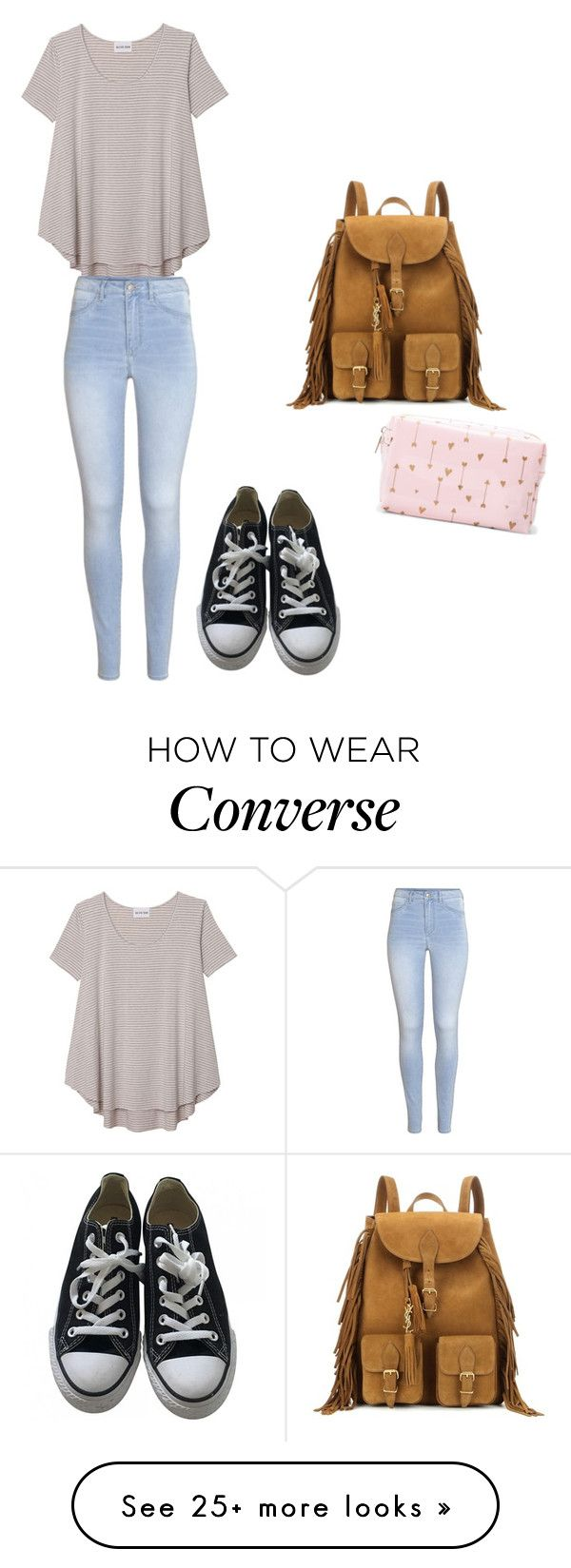 """Am I okay??"" by sunny1004 on Polyvore featuring Olive + Oak, H&M, Converse and Yves Saint Laurent"