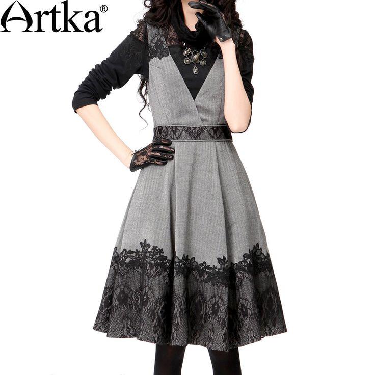 Одежда : Теплый сарафан А-силуэта с кружевной отделкой