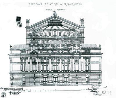 Teatr im. Juliusza Słowackiego w Krakowie, proj. elewacji frontowej, Jan Zawiejski, 1891 rok