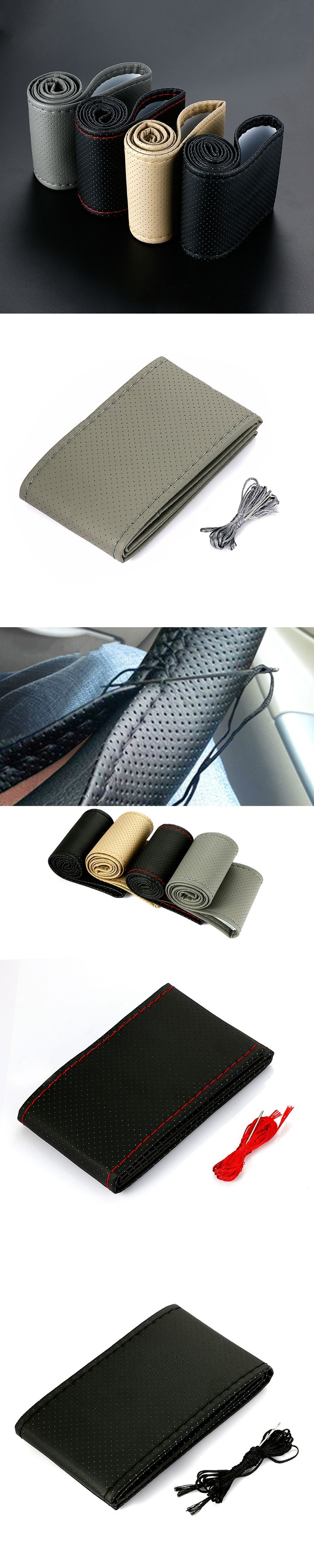 DEDC 1PC Car Styling DIY Car Steering Wheel Cover Artificial Leather for Diameter 38cm Auto Car Accessories