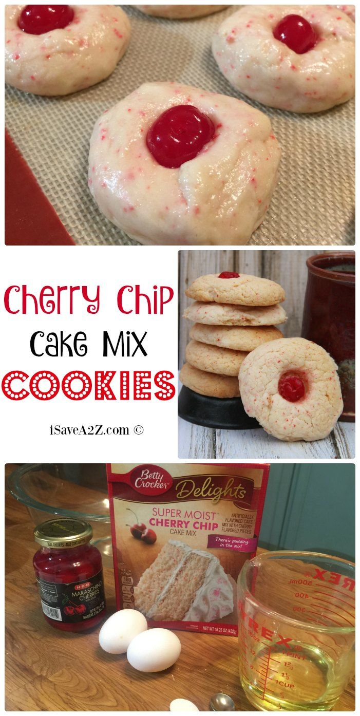 Cherry Chip Cake Mix Cookies Recipe - these cookies come out so light and fluffy!  They are DELISH!!!
