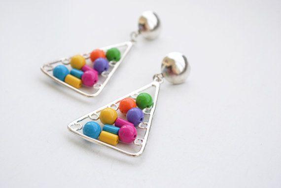 Vintage Post Earrings Multicolor Earrings by SoulSisters16 on Etsy