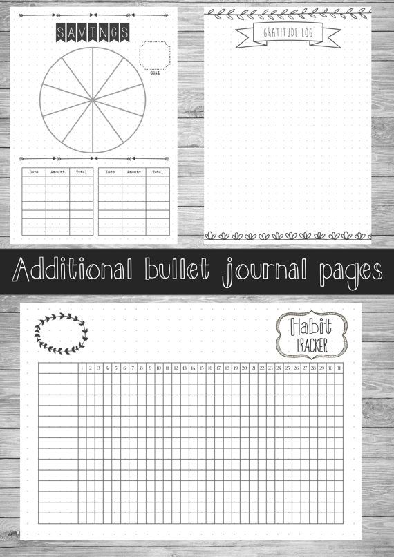 2017 BULLET JOURNAL - DIGITAL DOWNLOAD -A5 - US LETTER - SIZE ---------------------------------------------------------------  This PDF contains 127 hand-drawn style journal pages, which provides a really good base for your bullet journal. It contains a PDF with:  A front cover 2 page 2017 Calendar 12 Monthly Cover 52 Dated weekly planners Goal Wall Page Goal Details Page Goal Progress Page Savings Page Monthly Habit Tracker Be Thankful Page Blank dotted grid page   This journal currently…