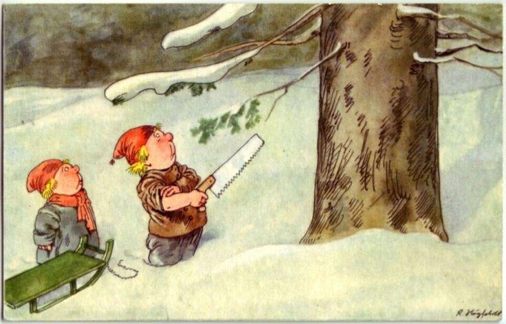 Optimistiske juletrehuggere sign. Robert Högfeldt brukt i Sveige 1939