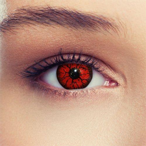 Crazy-Colored-Red Devil contact lens Contact Lenses-Lentilles-Halloween Monster