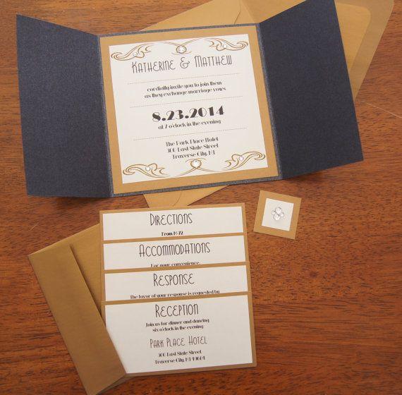 Vintage Glamour Metallic Wedding Invitation Set by MJsCreatives