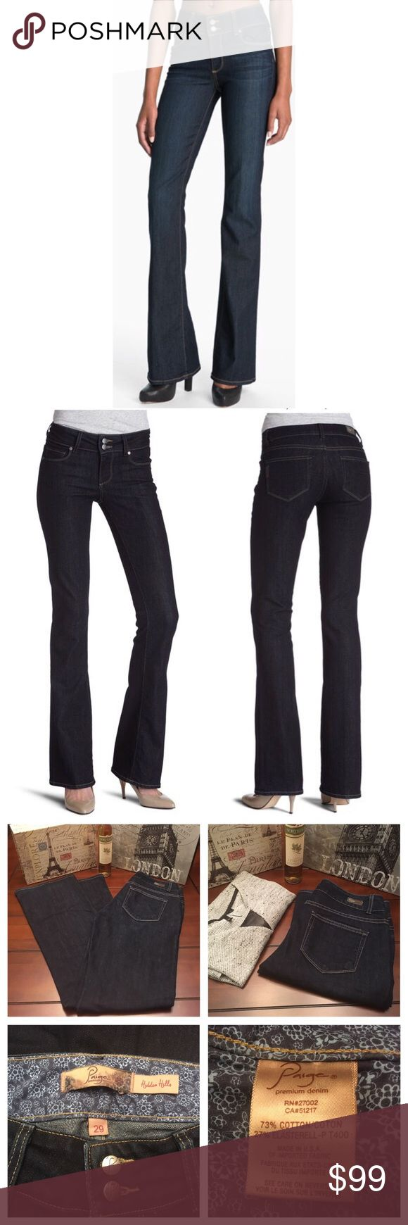 Paige Jeans- Hidden Hills, Size 29; Inseam 32.5 Paige Jeans- Hidden Hills in Dusk, Size 29; Inseam 32.5  Great condition with minor wear to hem edges. These are in the dark Dusk wash. These have a wide waistband and high rise. Inseam measures 32.25 inches, leg opening is 9.75 inches, rise measures 10 inches. Paige Jeans Jeans