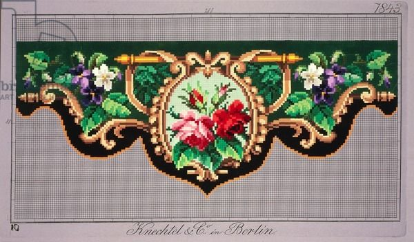 Pelmet pattern with roses, violets and geometric motif, 19th century - Knechtel und Co. - rote Rosen, weiße und lila Veilchen