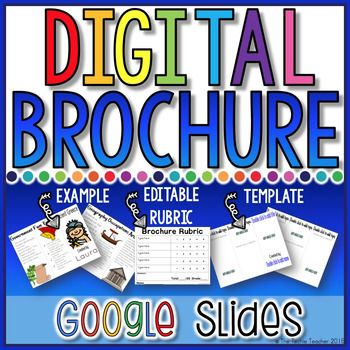 This makes for a great cross curricular DIGITAL activity: Make a brochure in Google Slides. This template will allow students to type their own text and insert pictures of their choice. An editable rubric is included!