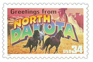 The North Dakota State Postage Stamp  Depicted above is the North Dakota state 34 cent stamp from the Greetings From America commemorative stamp series. The United States Postal Service released this stamp on April 4, 2002. The retro design of this stamp resembles the large letter postcards that were popular with tourists in the 1930's and 1940's.