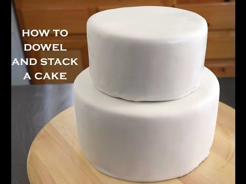 How To Dowel and Stack Cakes : Simple Tips For A Cake Decorating Beginner - YouTube