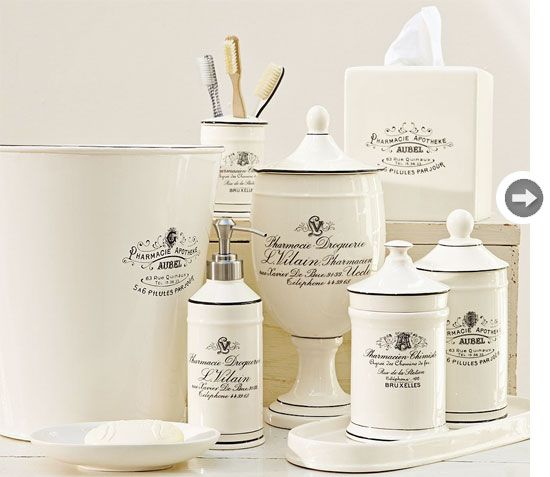 apothecary-inspired bathroom accessories we have these and I love them! #feelbeautiful #whbm