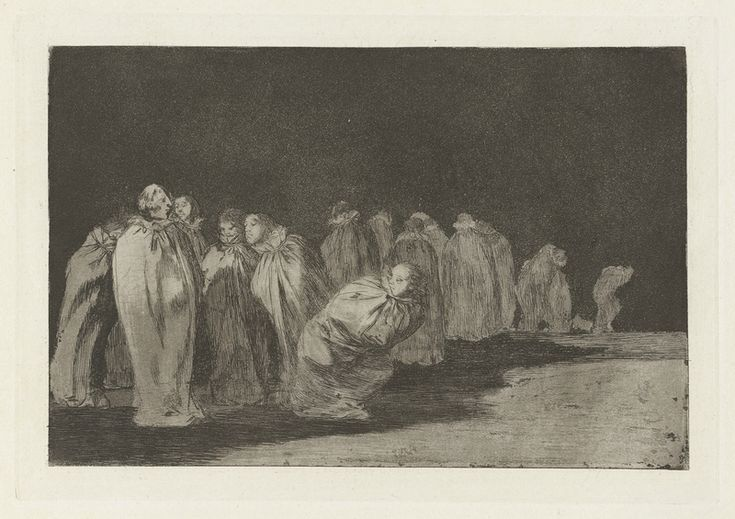 Francisco Goya, Spanish, 1746–1828, Los ensacados (The Men in Sacks), also known as So el sayal, hay al (There is Something Beneath the Sackcloth), from the series Los disparates (Los proverbios), ca. 1816–19, published 1864 (first edition). Etching and burnished aquatint, platemark: 24.5 x 35 cm (9 5/8 x 13 3/4 in.). The Arthur Ross Collection, 2012.159.40.9. Photo credit: Yale University Art Gallery.
