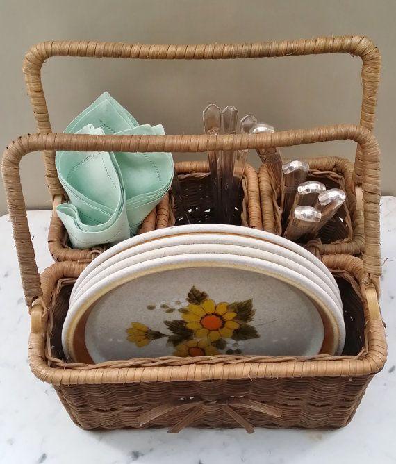 Vintage Wicker Picnic Utensil Basket Caddy by OakHillsRoadVintage  $18
