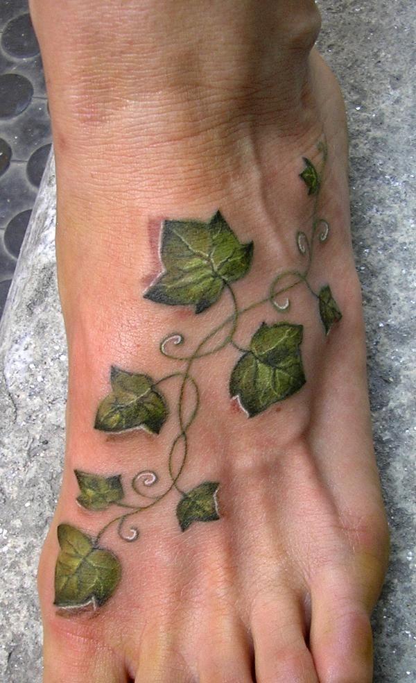 Right Leg Ivy Leafs Vine Tattoo