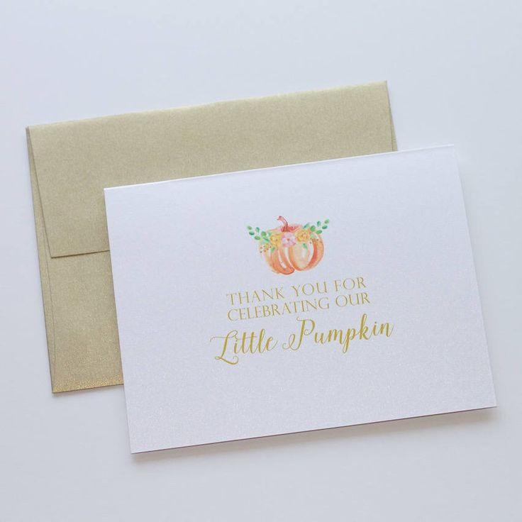 Baby Shower Thank You Cards - Pumpkin Thank You - Little Pumpkin Shower Theme - Fall Thank you - Personzlied card - Gender Neutral Shower by EmbellishedPaperie on Etsy https://www.etsy.com/listing/556787135/baby-shower-thank-you-cards-pumpkin