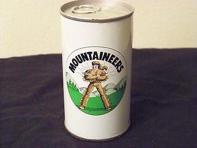 Vintage Iron City West Virginia Mountaineers Steel 12 oz Bottom Opened Beer Can