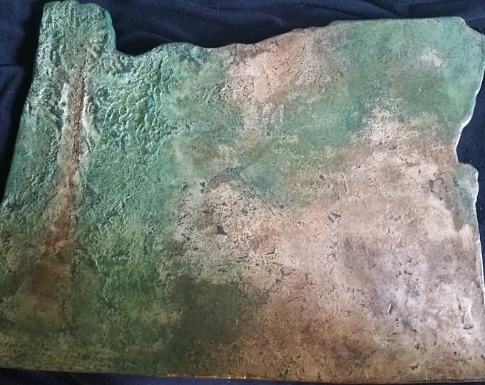 Topographical State of Oregon - Concrete Overlay