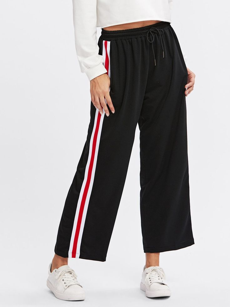 Pants by BORNTOWEAR. Side Striped Drawstring Waist Pants