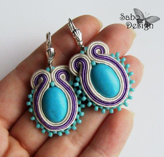 soutache earrings handmade embroidery turquoise by SaboDesign.
