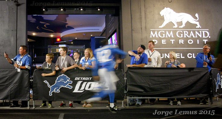 The Detroit Lions introduced the MGM Grand Tunnel Club--a new luxury experience for fans, which includes infield seating and a chance to greet the Detroit Lions players on their way to the field from the locker room--during the New York Jets vs Detroit Lions NFL preseason football game at Ford Field the Thursday, Aug. 13,  2015. Photo by Jorge Lemus.