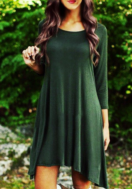 Army Green Plain Irregular Long Sleeve Fashion Midi Dress