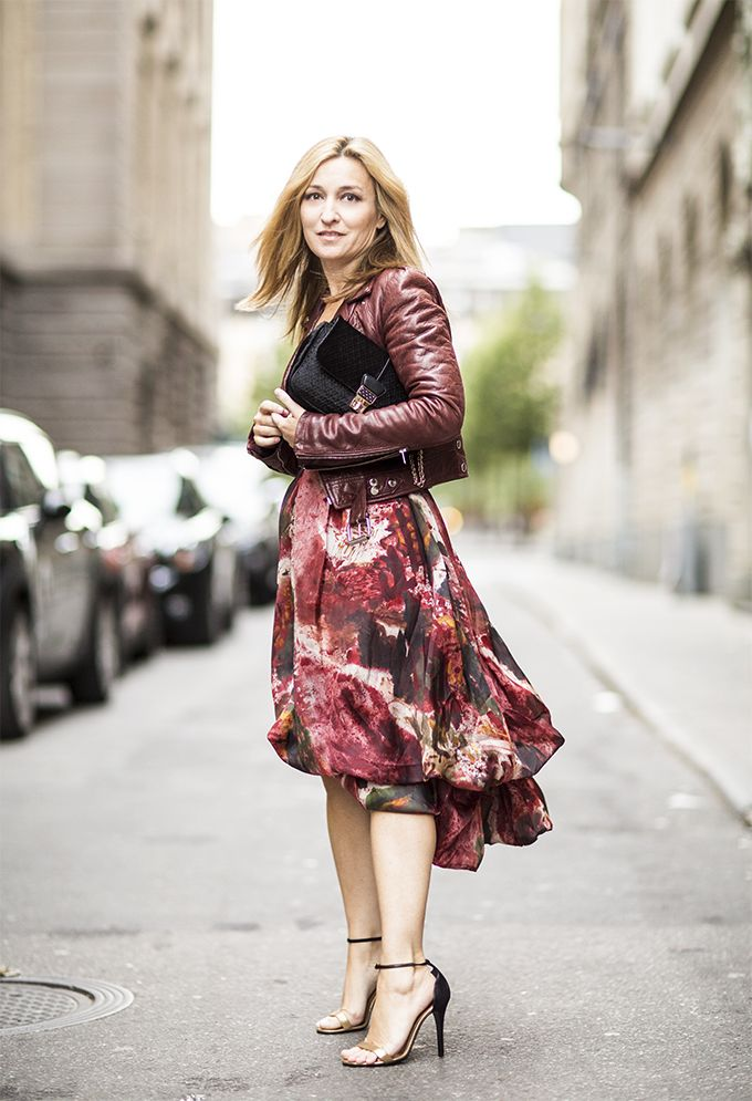 Modest Printed Dress and Leather Jacket