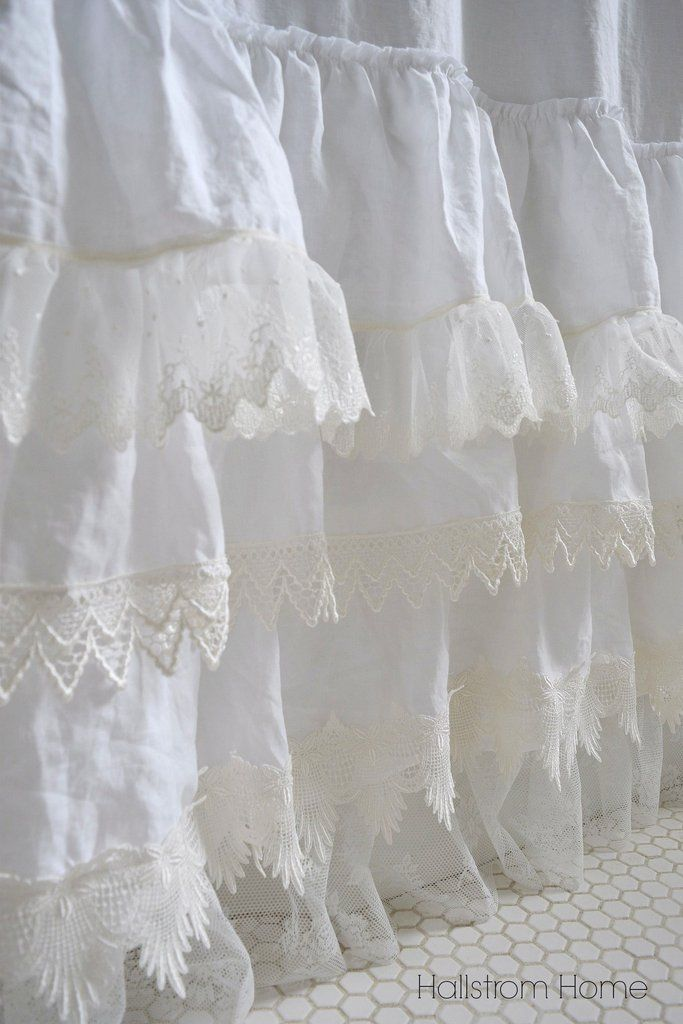 White Lace and Ruffle Shower Curtain - Hallstrom Home - 1