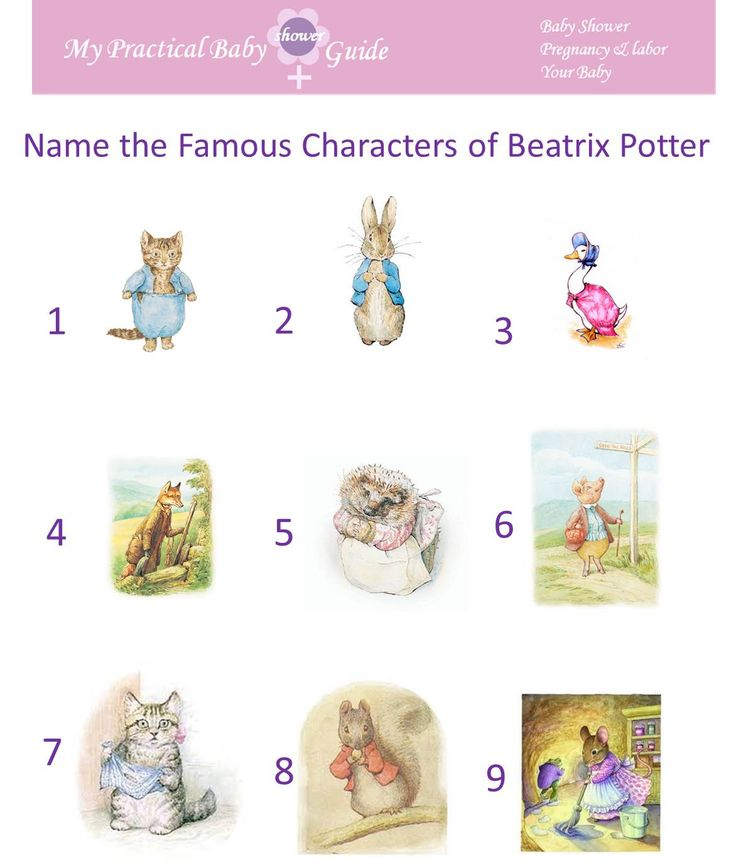 Free Printable Name the Famous Characters of Beatrix Potter Baby Shower Game. Make bookmarks for Beatrix Potter unit.