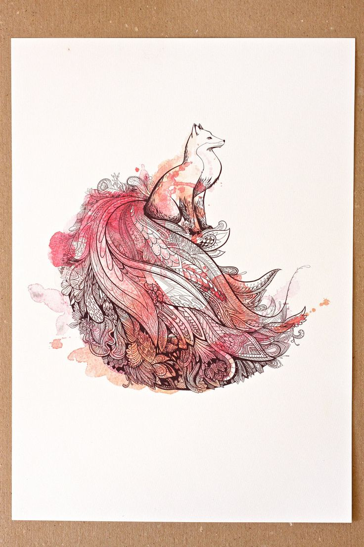 Peafox Art Print. Peacock and Fox. Watercolor Art. via Foxisle Etsy...Looks like an epic Ninetails to me.