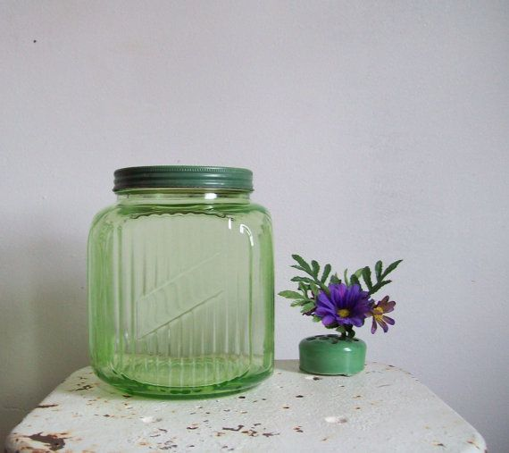 Antique Depression Green Glass Jar Square Gallon Jar Ribbed With Lid Anchor  Hocking Green Kitchen
