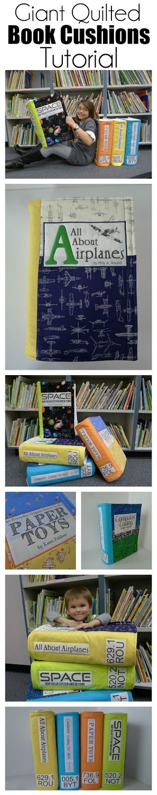Giant Quilted Non-Fiction Book Cushion Tutorial - Perfect for a Reading Nook, Library, or Classroom  - Make your own!