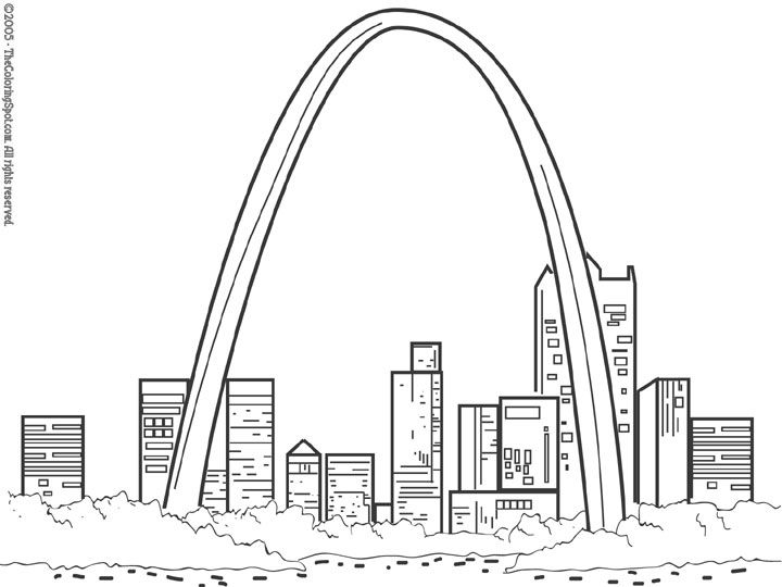 Free coloring pages of St. Louis for the kiddos.