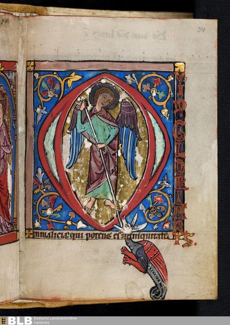 2eme moitié du XIIIe siècle 112 [54r] - Miniatur: Hl. Georg - Seite - Handschriften - BLB Karlsruhe