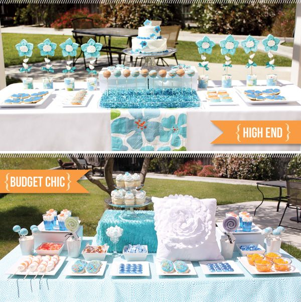 The Look For Less - Dessert TableBudget Parties, Blue Sweets, Baby Blue, Chic Parties, Blue Flowers, Custom Design, Desserts Tables For Wedding, Events Design, Blue Tables