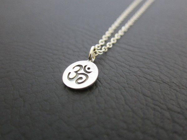 Tiny Om Necklace, Ohm pendant necklace, Daity Silver necklace, Meditation Jewelry, Buddhist Jewelry