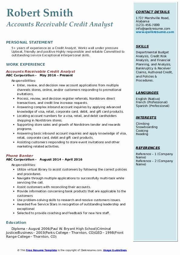 Accounts Receivable Analyst Resume Unique Credit Analyst Resume Samples Business Analyst Resume Analyst Business Analyst
