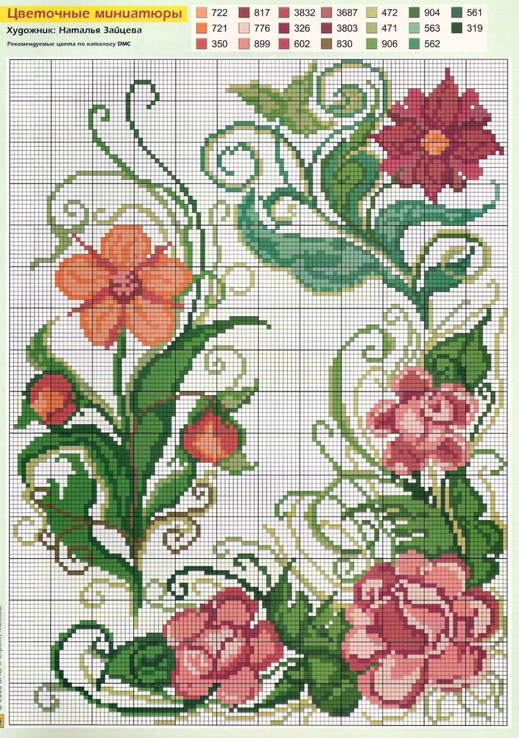swirly flower cross stitch