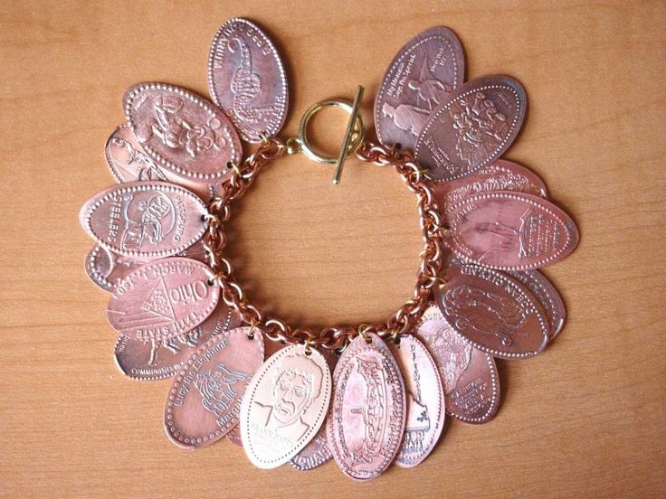 souvenir pressed penny bracelet. The girls would love to have their pennies made into a bracelet!