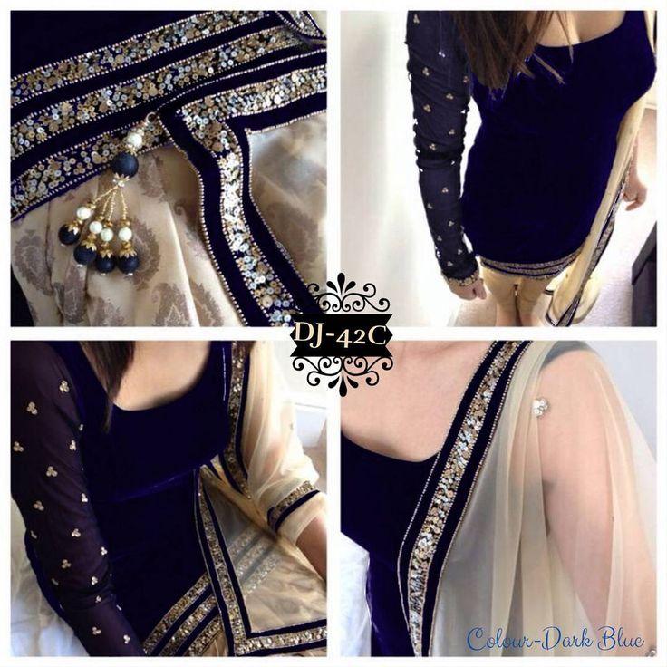 """Top- pure velvet Bottom santoon (option-chudi patiyala) Duppata net (4side jhumka diamond work) Lace sleeves- embroidery work"