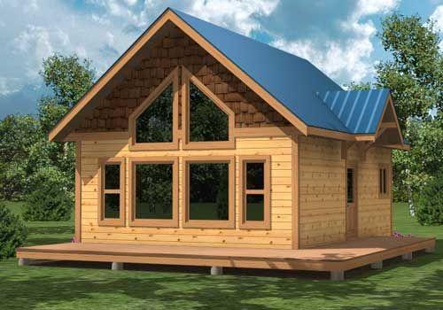 Windows grouse cabin plan 825 sq ft rrf property for Post beam garage plans