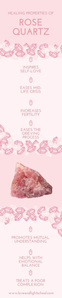 "A Crystal Message about the Healing Properties of Rose Quartz: ""Love and value your unique, authentic self. Bask in the excitement of sharing your gifts for the highest good of all."" #rosequartz #crystalhealing"