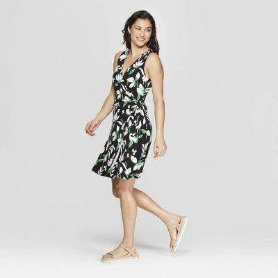 4317906af85 Women s Floral Print Sleeveless V-Neck Wrap Dress - A New Day Black ...