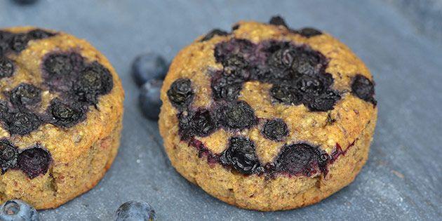 Dejlige blåbærmuffins, som tilmed er sunde. Mums!
