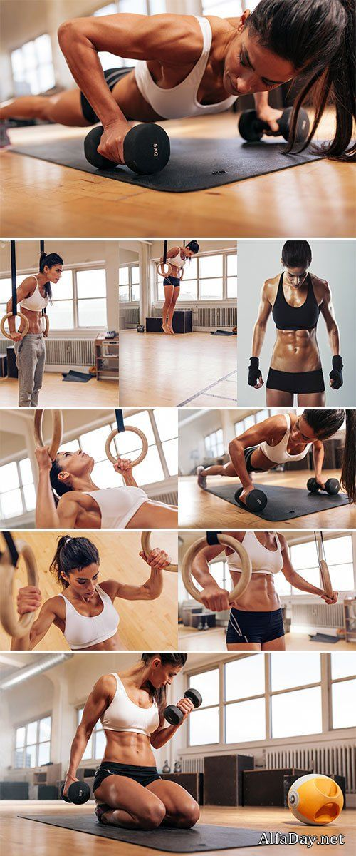 Gain Muscle Naturally: Muscular woman going pull-ups with gymnastic rings...