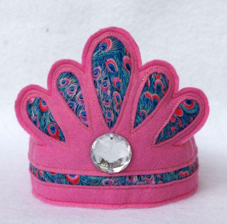 Pink felt tiara with peacock detail by Schooza/ www.madeit.com.au/schooza